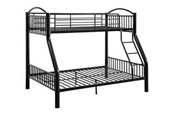 """78"""" X 56"""" X 67"""" Twin Over Full Black Bunk Bed"""