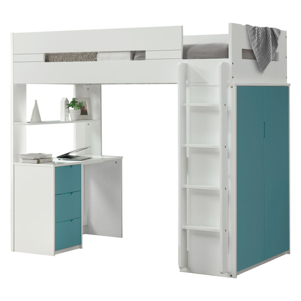 White and Teal Twin Loft Bed and Desk