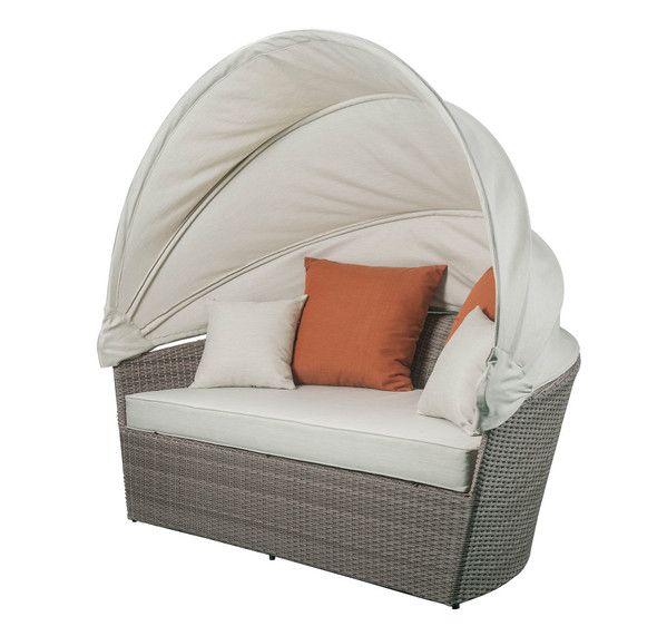 """71"""" X 48"""" X 31"""" 2Pc Beige Fabric And Gray Wicker Patio Canopy Daybed Set"""
