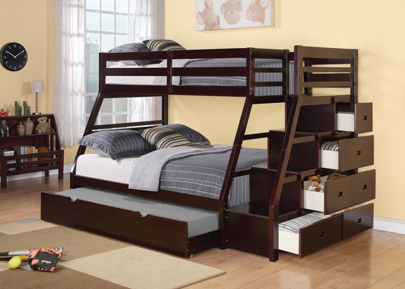 """98"""" X 56"""" X 65"""" Espresso Pine Wood Bunk Bed (Twin/Full) with Trundle"""