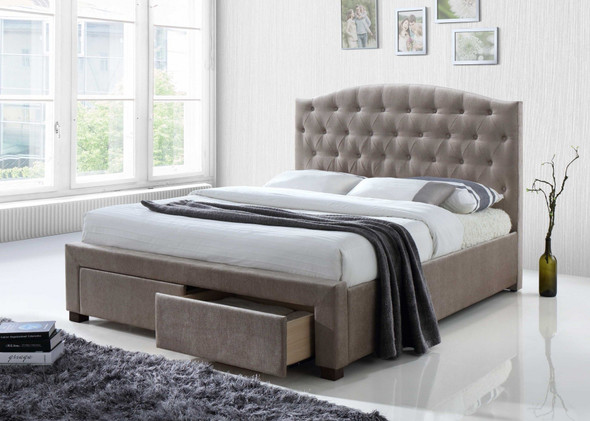 """88"""" X 63"""" X 41"""" Mink Fabric Queen Bed With Storage"""