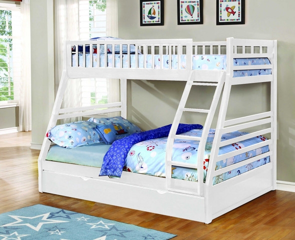 White Finish Twin over Full Bunk Bed with Trundle