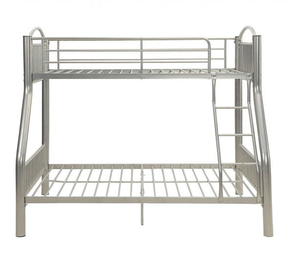 """78"""" X 56"""" X 67"""" Silver Metal Twin Over Full  Bunk Bed"""