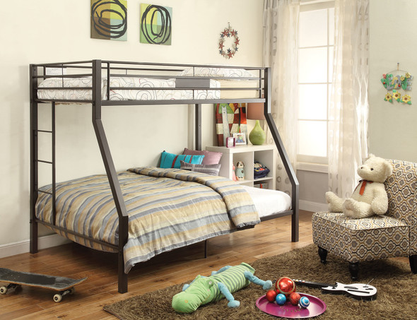 """79"""" X 56"""" X 65"""" Twin Over Full Brown Metal Tube Bunk Bed"""