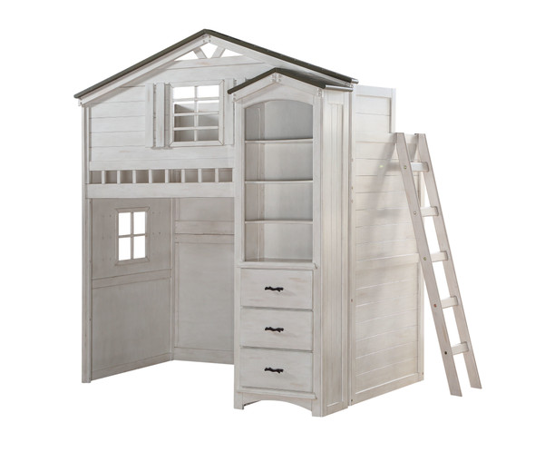 """43"""" X 80"""" X 88"""" Weathered White Washed Gray Wood Loft Bed (Twin Size)"""