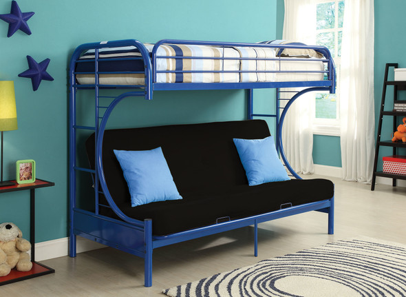 """84"""" X 62"""" X 65"""" Twin Xl Over Queen Blue Metal Tube Futon Bunk Bed"""