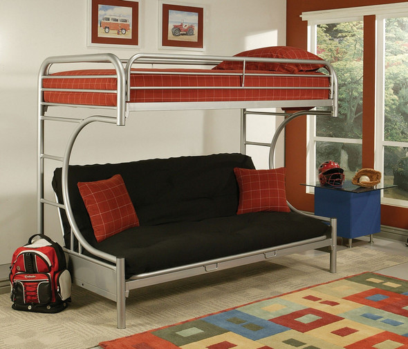 """84"""" X 62"""" X 65"""" Twin Xl Over Queen Silver Metal Tube Futon Bunk Bed"""