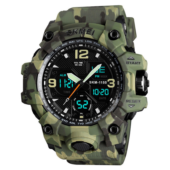 Color: Green camouflage - Sports Fashion Dual Display Watch Large Dial