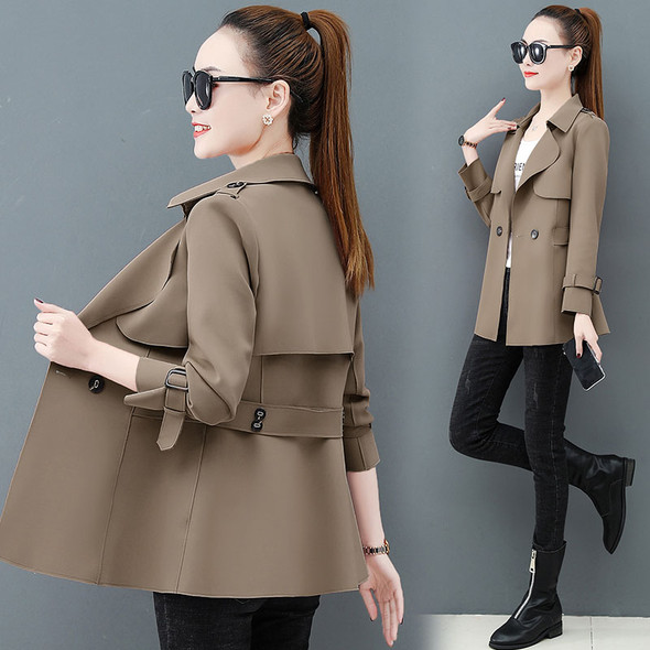 Color: Khaki, Size: L - Western Style Windbreaker Coat Women's Clothing Popular Spring And Autumn