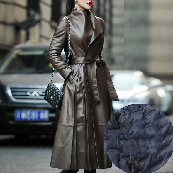 Color: Champagne down, Size: XXL - Women's waist leather down jacket