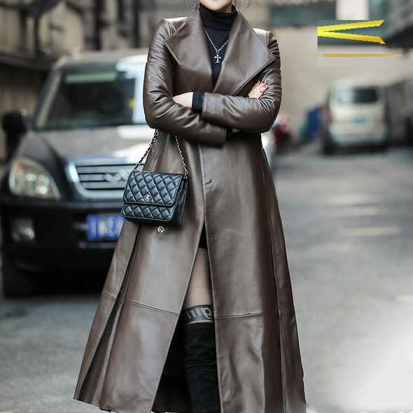 Color: Champagne single, Size: M - Women's waist leather down jacket