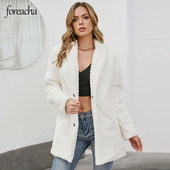 foreach S-3XL Coats Women 2021 Winter Embossed White Single breasted Coat Thickened Mid length Fake Fur Woman Jacket bontjas