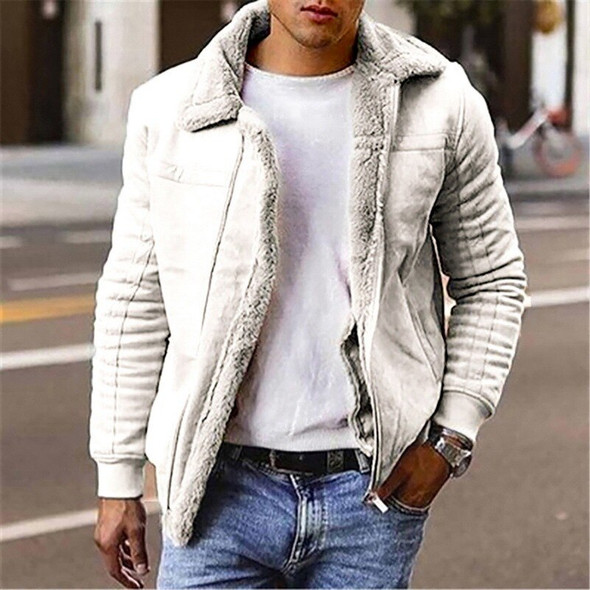 Mens Faux Leather Jackets Fleece Coats Lined Winter Warm Parkas Thicken Thermal Faux Fur Overcoat Outerwear