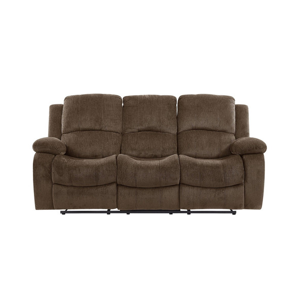 Coffee Brown Chenille Fabric Reclining Sofa With Drop Down Table