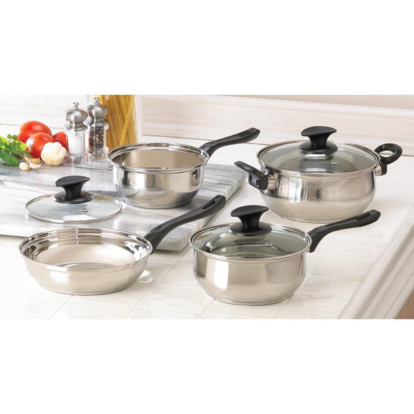 4 PIECE STAINLESS STEEL COOKING SET
