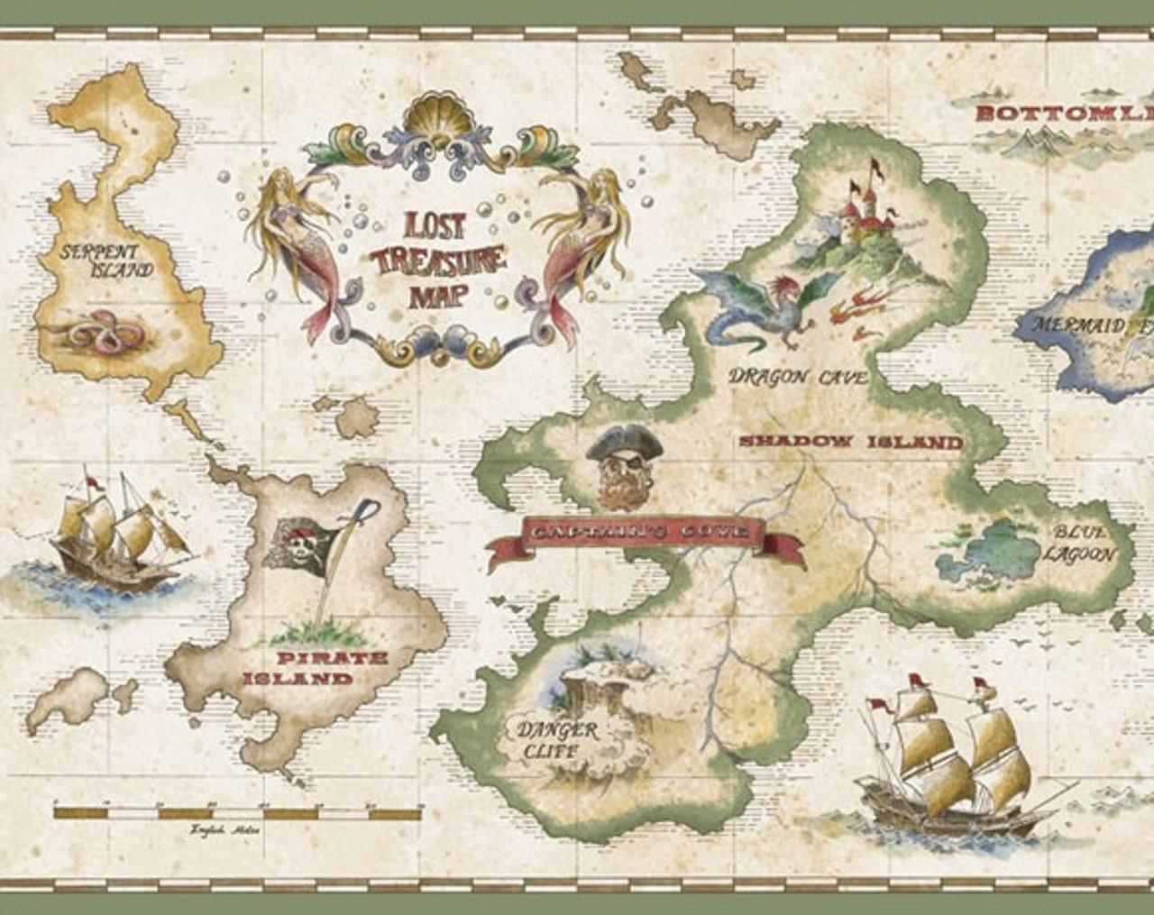 Treasure Map Pirate Wallpaper Murals