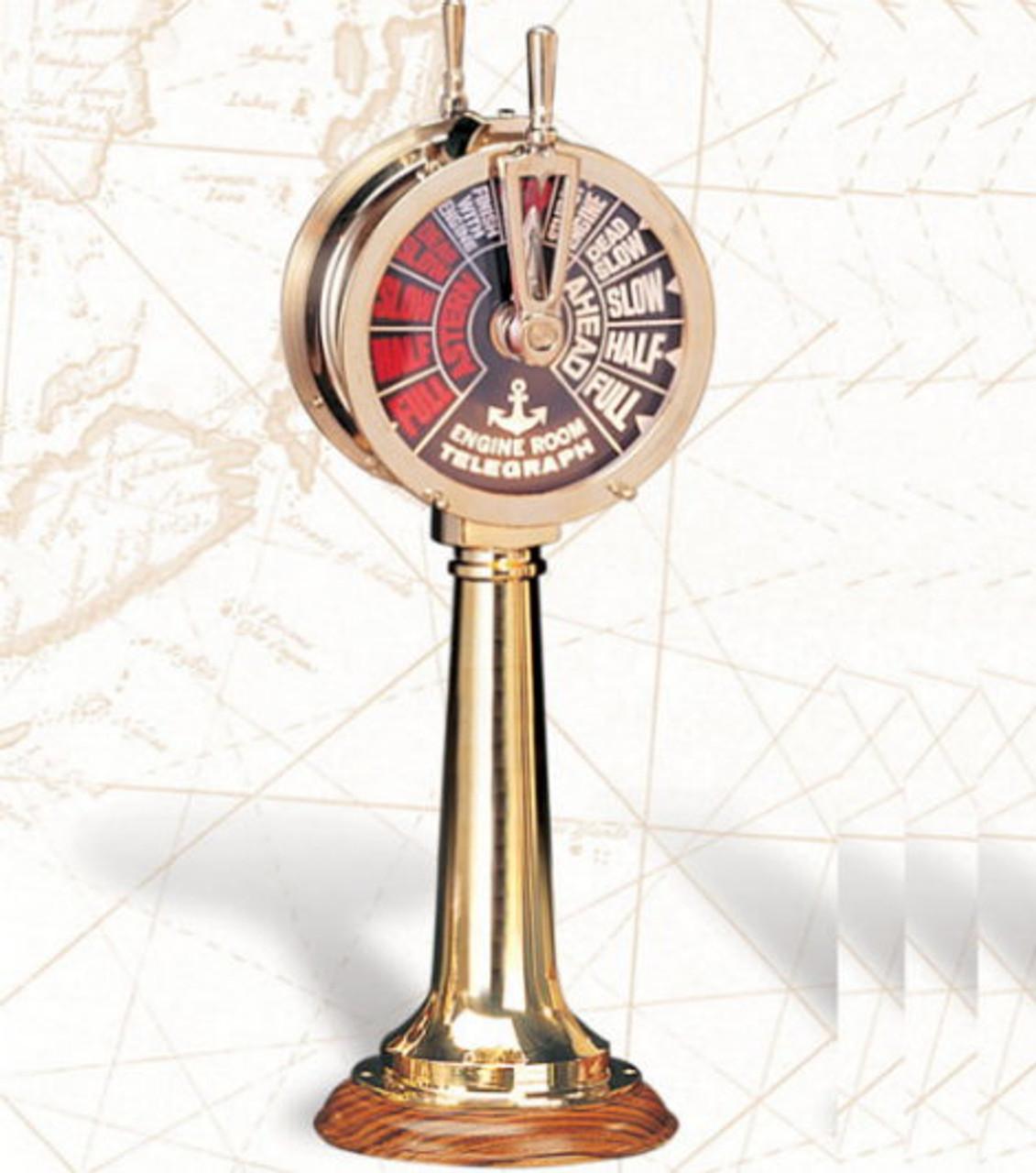 "Vintage Nautical Ships Brass Engine Telegraph Working Sounding Bells Brass 14/"" ."