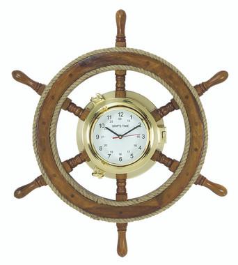 Ship Wheel Porthole Clock
