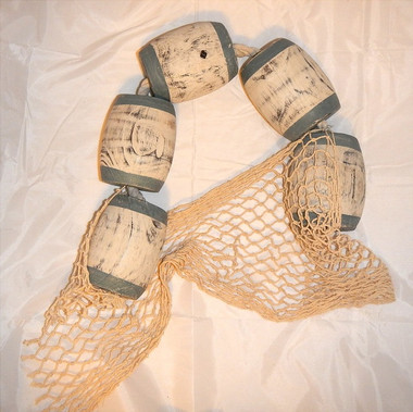 Wood Fishing Floats and Net on Rope