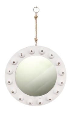 """15"""" White Porthole Hanging Mirror"""