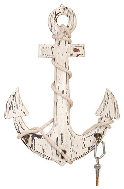 Large 24 x 18 Wood Ship's Anchor with Hooks