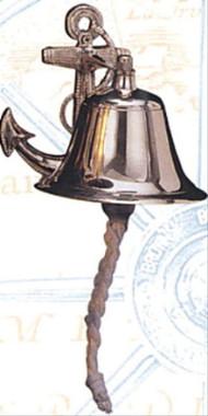 """8"""" Brass Nautical Anchor Wall Bell"""