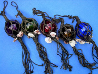 """3"""" Glass Netted Fishing Balls 5 Colors"""