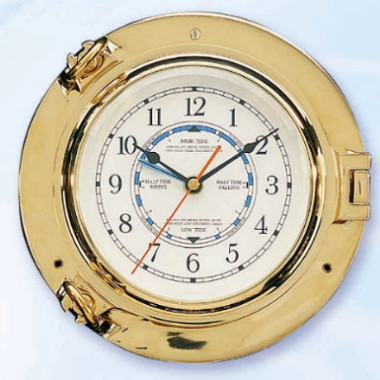 "9"" Brass Port Hole Tide Clock"