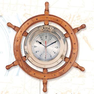 Port Hole Ship Steering Wheel Clock