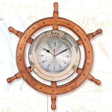 Port Hole Ship Steering Wheel Clock
