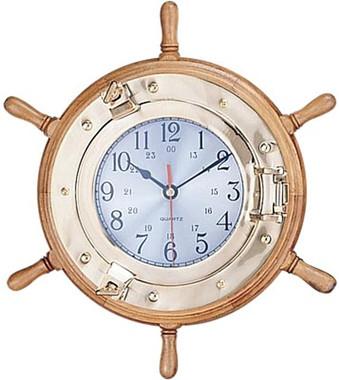 Port Hole Ships Wheel Clock