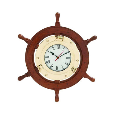 Ships Wheel Porthole Wall Clock