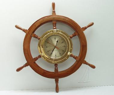 Wooden Ships Wheel Porthole Clock