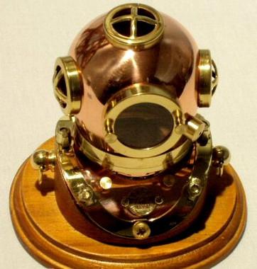 Mini Mark V U.S. Navy Diving Helmet on Wood Base