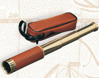 Brass Leather Spyglass And Pouch