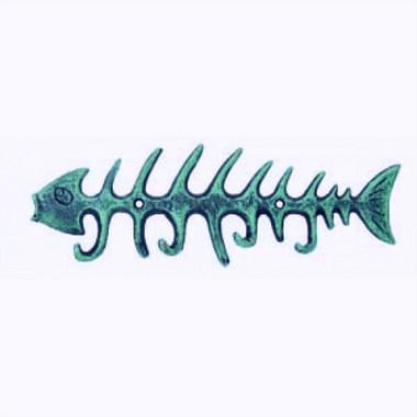 Rustic Fish Bone 4 Hook Hanger