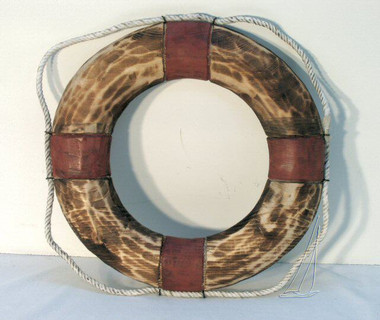 Wood Life Ring Preserver Decoration