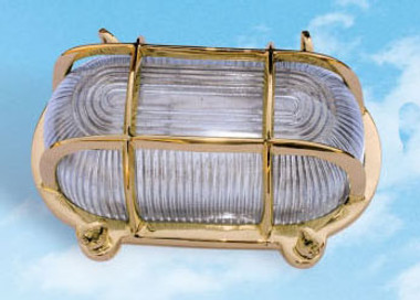 Brass Oval Cage Light Bulkhead Lamp