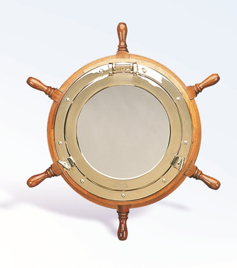 "Medium 18"" Nautical Mirror Ship Wheel"