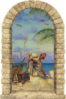 Pirate Banking Window Mural Peel Stick