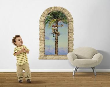 Pirate Parrot Palm Window Peel Stick