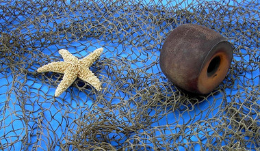 Fish Nets with Cork and Starfish Decorations