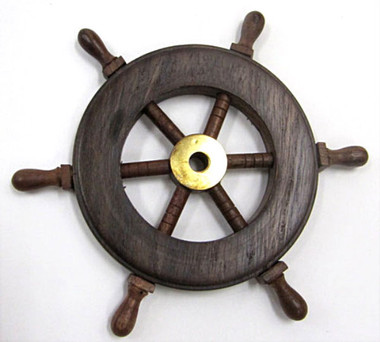 "Small 6"" Wooden Ships Wheel"