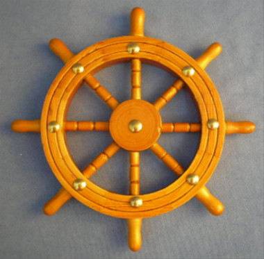 "Small 8"" Wooden Ships Wheel"