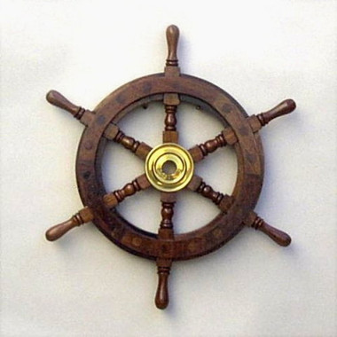 "12"" Nautical Wooden Pirate Wheel"