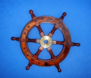"12"" Nautical Wooden Pirate Ships Wheel"