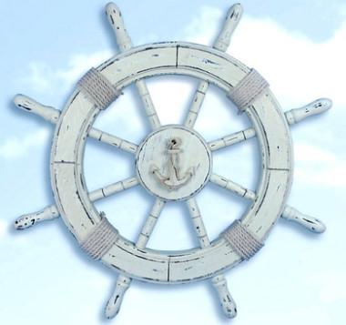 "24"" White Wooden Decorator Ship Wheel"