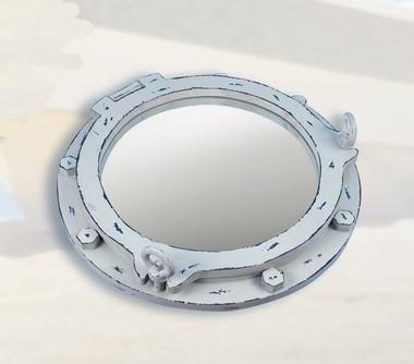 """17"""" Ships Porthole Mirror White Washed"""