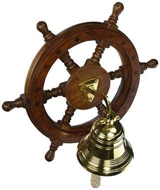 "12"" Nautical Decoration Wheel Brass Bell"