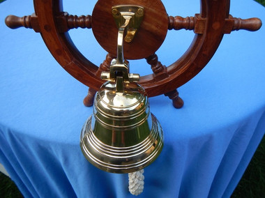 "12"" Nautical Decoration Wheel Brass Bell"